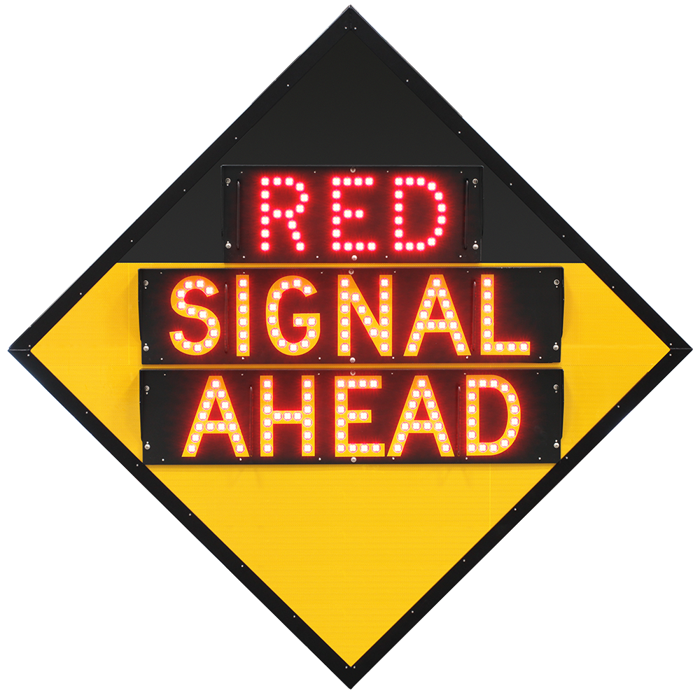 """(RED) SIGNAL AHEAD"" Advance Traffic Light Warning Road Sign"